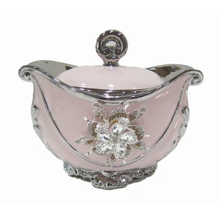 D'Lusso Designs Pink and Silvertone Ceramic Decorative Box