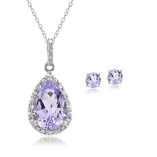 Glitzy Rocks Sterling Silver Gemstone and Diamond Accent Teardrop Necklace Earrings Set