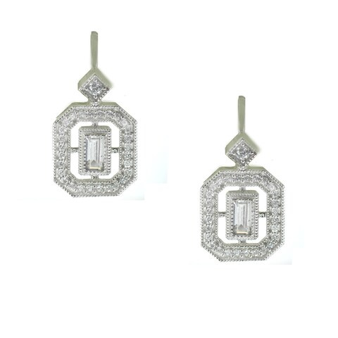 One-of-a-kind Michael Valitutti Baguette and Round Cubic Zirconia Leverback Earrings