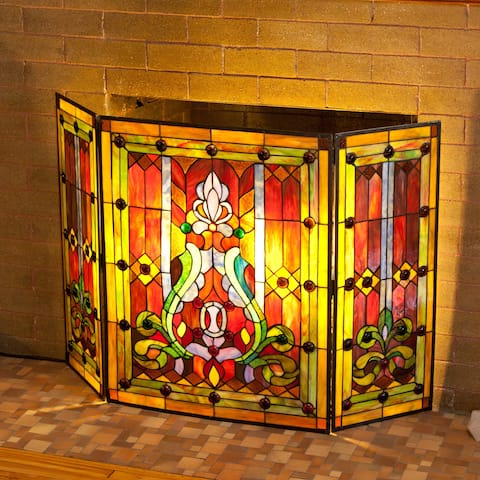 """River of Goods Multicolor Stained Glass 28-inch Fleur de Lis Fireplace Screen - 44""""L x 28""""H"""