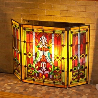 "River of Goods Multicolor Stained Glass 28-inch Fleur de Lis Fireplace Screen - 44""L x 28""H"
