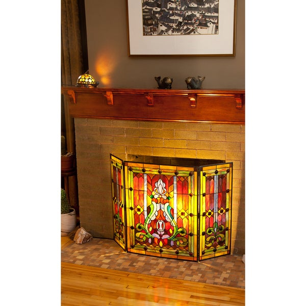 River Of Goods Multicolor Stained Glass 28 Inch Fleur De Lis Fireplace Screen Free Shipping