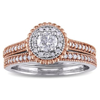 5/8ct TDW Diamond Flower Halo Bridal Ring Set in 10k 2-tone White and Rose Gold by The Miadora Signature Collection
