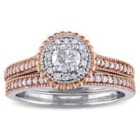 5/8ct TDW Diamond Flower Halo Bridal Ring Set in 10k 2-tone White and Rose Gold by The Miadora Signa