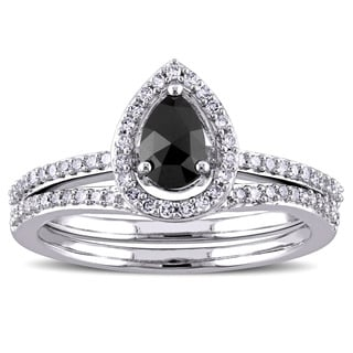 Miadora 3/4ct TDW Black and White Pear and Round-Cut Diamond Teardrop Halo Bridal Ring Set in 14k White Gold (G-H, I1-I2)