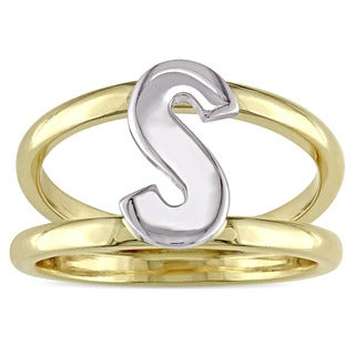 Initial S Split Shank Ring in 2-Tone 14k Yellow and White Gold by Miadora