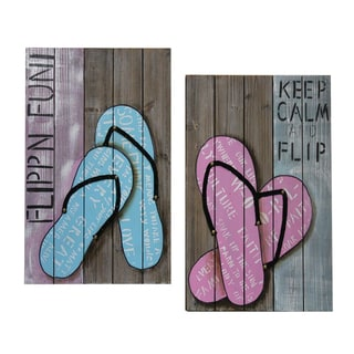 Coastal Collection 'Flipn Fun' Multicolored Wood Planks Wall Decor (Set of 2)