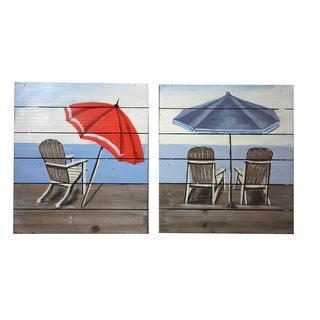Coastal Collection 'Relaxing by the Beach' 2-Piece Square Wooden Wall Decor