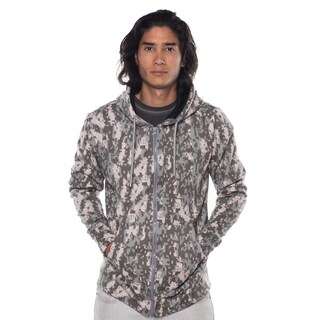 Men's Green Camo Cotton/Polyester Fleece Zip-up Jacket with Double Hood, Drawstring, & Front Pockets