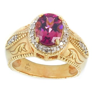 One-of-a-kind Michael Valitutti Rubellite and Diamond Halo Ring