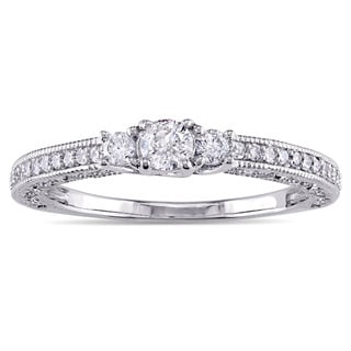 Miadora 14k White Gold 1/4ct TDW Diamond Vintage Promise Ring