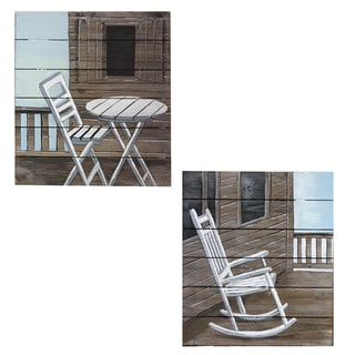 Urban Designs Coastal Collection 'Getaway' Wood Square Wall Art (Set of 2)