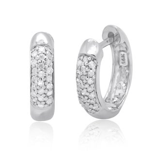 14k White Gold 1/4ct TDW Round Diamond Pave Hoop Earrings