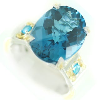 One-of-a-kind Michael Valitutti Swiss Blue Topaz and Neon Apatite Cocktail Ring