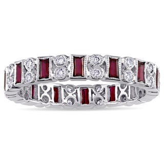 Ruby and 1/4ct TDW Diamond Vintage Anniversary Ring in 14k White Gold by The Miadora Signature Collection