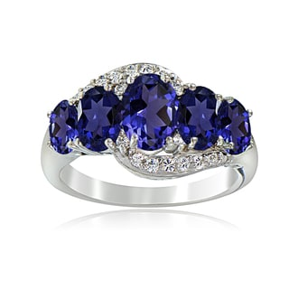Glitzy Rocks Sterling Silver Created Sapphire and White Topaz 5-stone Ring