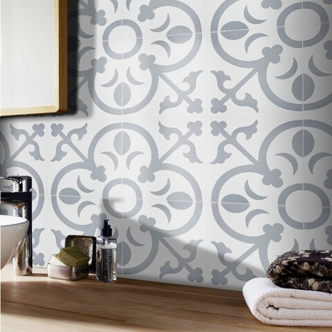 Nador in White and Grey Handmade 8x8-in Moroccan Tiles (Pack 12)