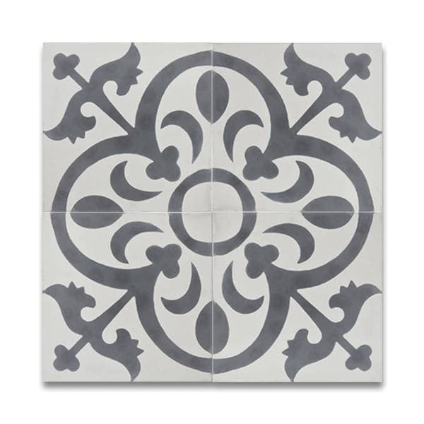 Pack of 12 Nador White and Grey Handmade Cement 8x8-inch Floor and Wall Tiles (Morocco)