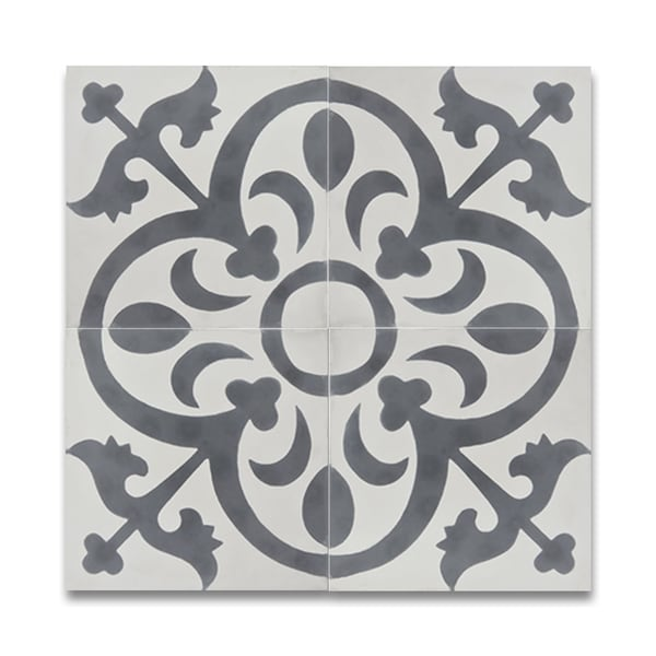 Pack Of 12 Nador White And Grey Handmade Cement 8x8 Inch