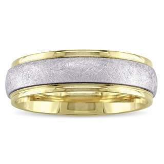 Ladies Brushed Finish Wedding Band in 2-Tone 14K White and Yellow Gold by The Miadora Signature Collection