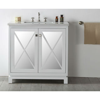Legion Furniture Quartz Top 36-inch White Single Bathroom Vanity