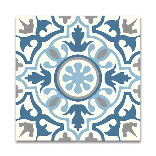 Pack of 12 baha blue and grey handmade cement 8x8 inch for Blue and white cement tile