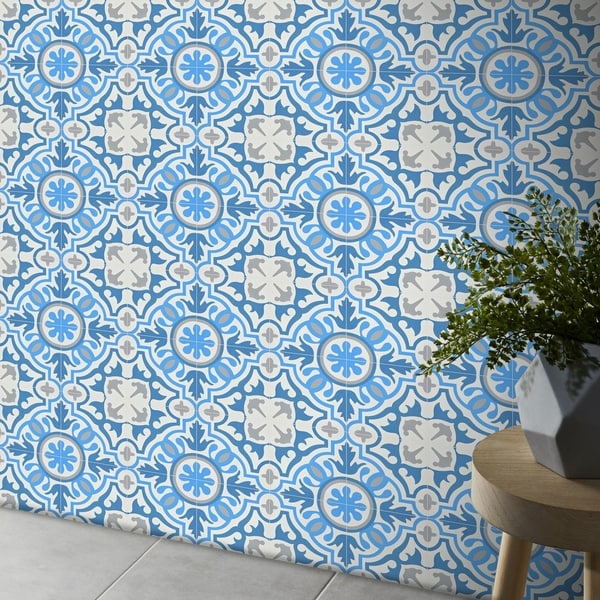 Baha in Blue and Grey Handmade 8x8-in Moroccan Tiles (Pack 12)