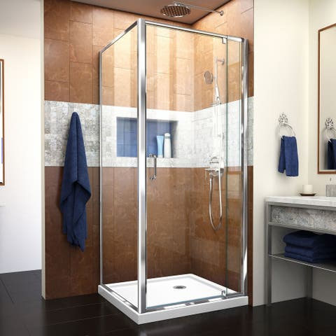 """DreamLine Flex 32 in. D x 32 in. W x 74 3/4 in. H Pivot Shower Enclosure and Shower Base Kit - 32"""" x 32"""""""