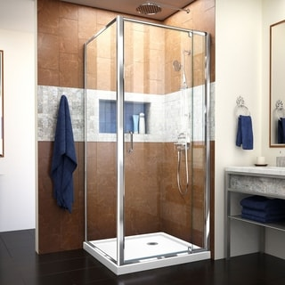 "DreamLine Flex 32 in. D x 32 in. W x 74 3/4 in. H Pivot Shower Enclosure and Shower Base Kit - 32"" x 32"""