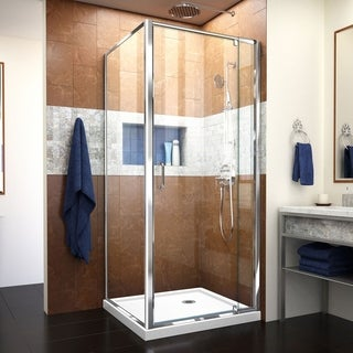 DreamLine Flex 32-in. W x 32-in. D x 74-3/4-in. H Frameless Shower Enclosure and Base Kit