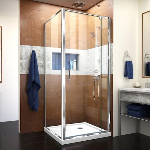 """DreamLine Flex 36 in. D x 36 in. W x 74 3/4 in. H Pivot Shower Enclosure and Shower Base Kit - 36"""" x 36"""""""