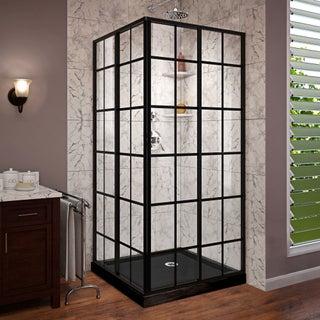 DreamLine French Corner 36 in. D x 36 in. W x 74 3/4 in. H Framed Sliding Shower Enclosure and Shower Base Kit