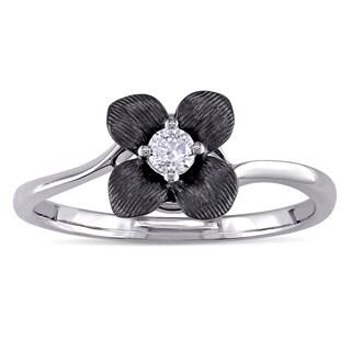 Miadora 1/10ct TDW Solitaire Diamond Textured Flower Ring in 14k White Gold with Black Rhodium