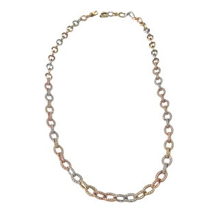 14k Tri-color Gold 1 7/8ct TDW Diamond Link Necklace (I-J, SI1-SI2)