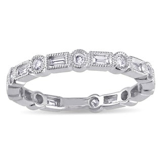 Miadora 10k White Gold 1/2ct TDW Round and Parallel Baguette-cut Diamond Eternity Ring (G-H, I2-I3)