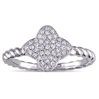 Twisted Diamond Quatrefoil Cluster Ring in 10k White Gold by Miadora