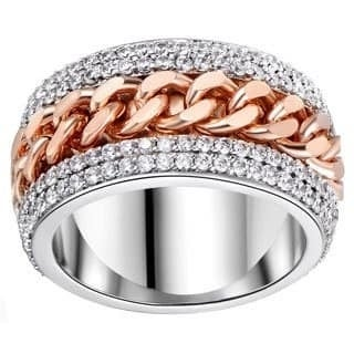 Rhodium Plated Two-tone Link Statement Ring