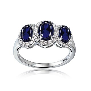 Link to Glitzy Rocks Sterling Silver Created Sapphire and White Topaz 3-Stone Halo Ring Similar Items in Men's Jewelry