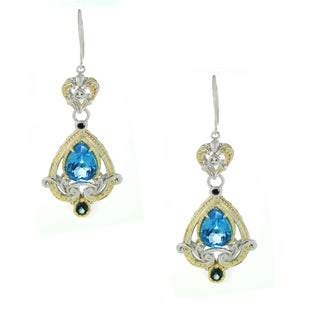 One-of-a-kind Michael Valitutti London and Swiss Blue Topaz with White and Blue Sapphrie Leverback Earrings
