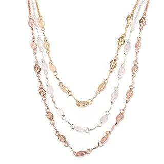 18k Goldplated Triple-Tone Leaf Link Triple-strand Necklace