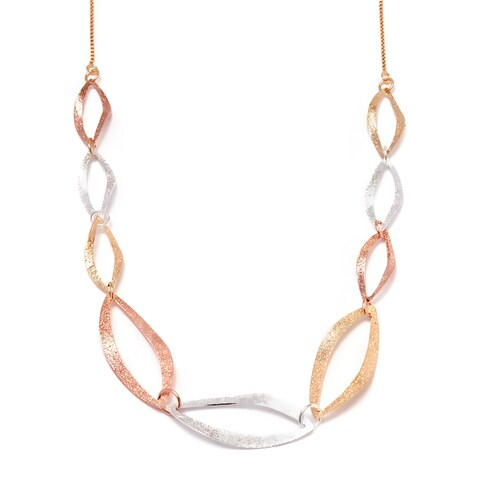 Goldplated Tri-Gold Graduated Oval Necklace - Gold