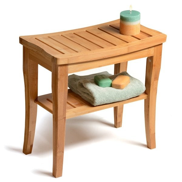 Belmint Deluxe Bamboo Shower Seat Bench with Storage Shelf