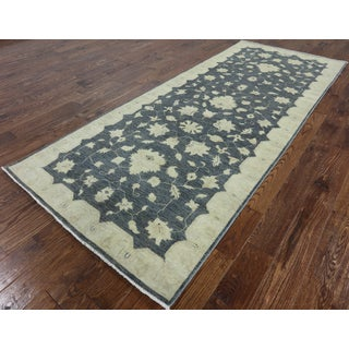 Hand-Knotted Traditional Peshawar Runner Blue wool Rug (4' 0 x 9' 8)