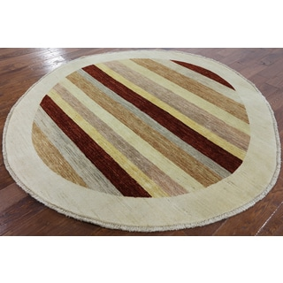 Hand-Knotted Traditional Gabbeh Round Striped Multi wool Rug (6' 6 x 6' 7)