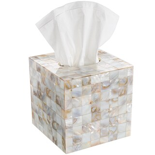 Creative Scents Milano Square Tissue Box Cover (Option: Mother Of Pearl)