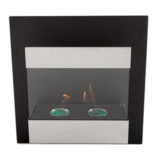 EcoPyro Whistler Stainless Steel/ Chimney Black Wall Hanging Ethanol Fireplace
