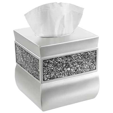 Creative Scents Brushed Nickel Square Tissue Box Cover