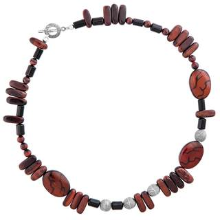 Sterling Silver Red Jasper and Onyx Necklace
