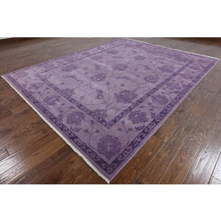 Hand-Knottedl Modern Oushak Square Purple wool Rug (8' 0 x 8' 0)