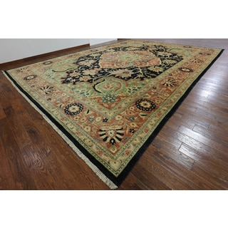 Hand-Knotted Traditional Fine Serapi Black wool Rug (14' 2 x 19' 10)